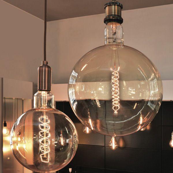 giant led filament globe twisted e27 6w d200mm amber. Black Bedroom Furniture Sets. Home Design Ideas
