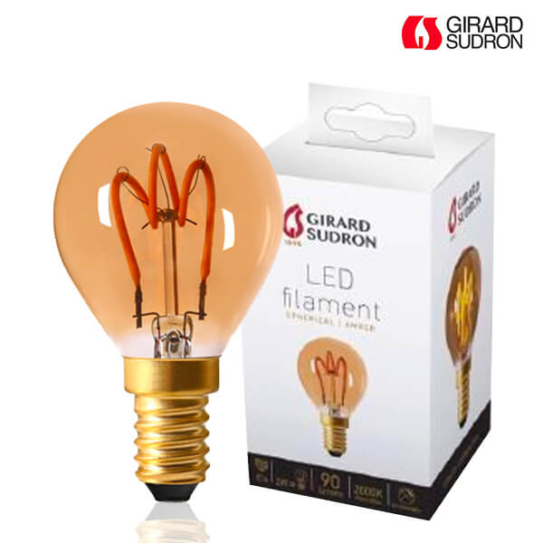 LED filament bulb E14 2W Spherical LOOPS Amber Girard Sudron