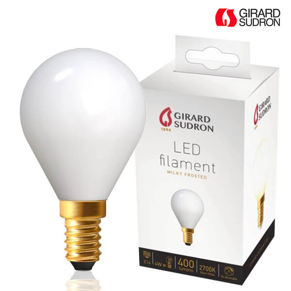 LED filament bulb E14 4W Spherical 2700K Milky White Girard Sudron