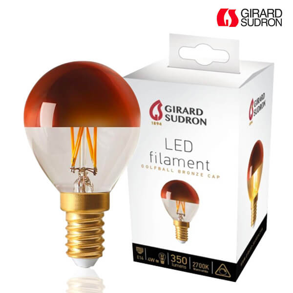 LED filament bulb E14 4W Spherical Bronze cap Dimmable Girard Sudron
