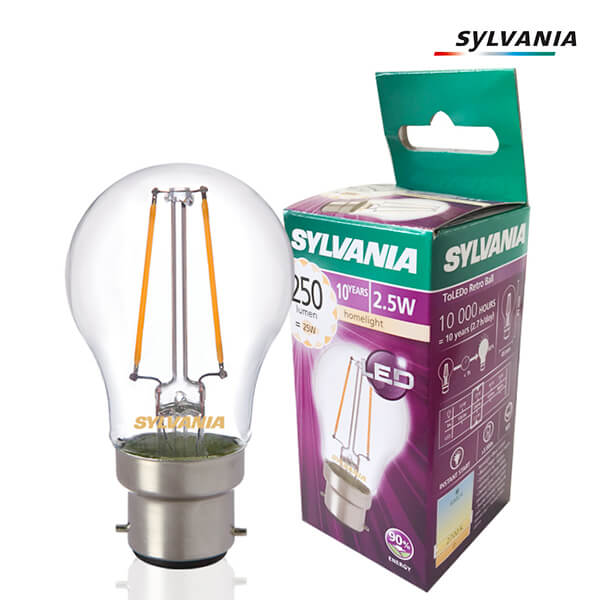 LED filament bulb ToLEDo Retro B22 2.5W Spherical 2700K Clear Sylvania