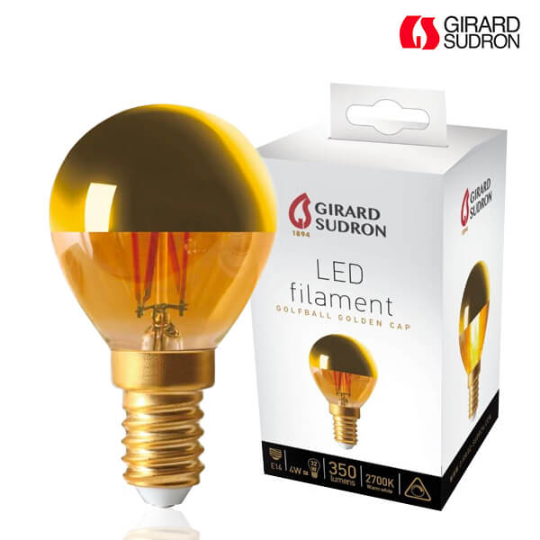 LED filament bulb E14 4W Spherical Golden cap Dimmable Girard Sudron