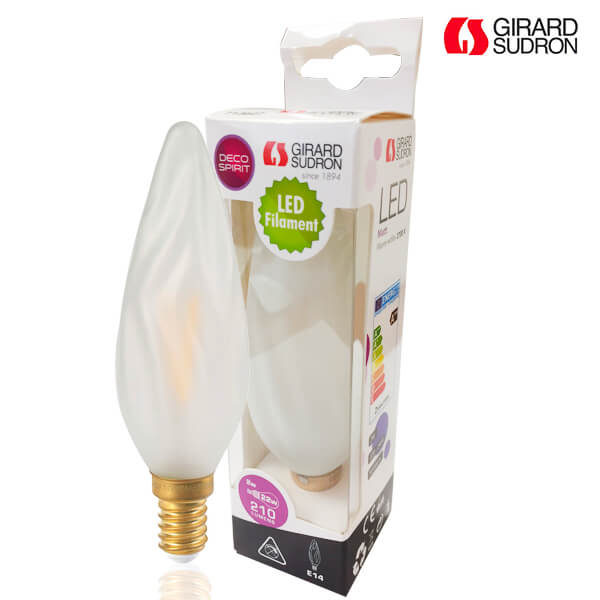 LED filament bulb E14 2W Flame Torch GS8 Satin Girard Sudron