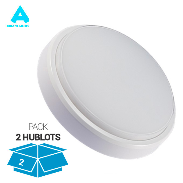 Pack 2 Plafonniers LED Rond Hublot 12W 850lm 4000K Ariane