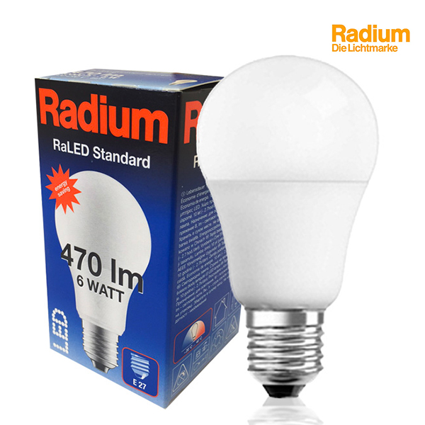 LED bulb RaLED Standard E27 5.5W 2700K 470lm Radium