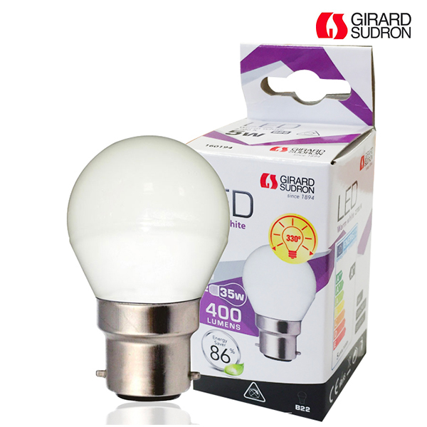 LED bulb B22 5W 400lm Spherical Opal Girard Sudron