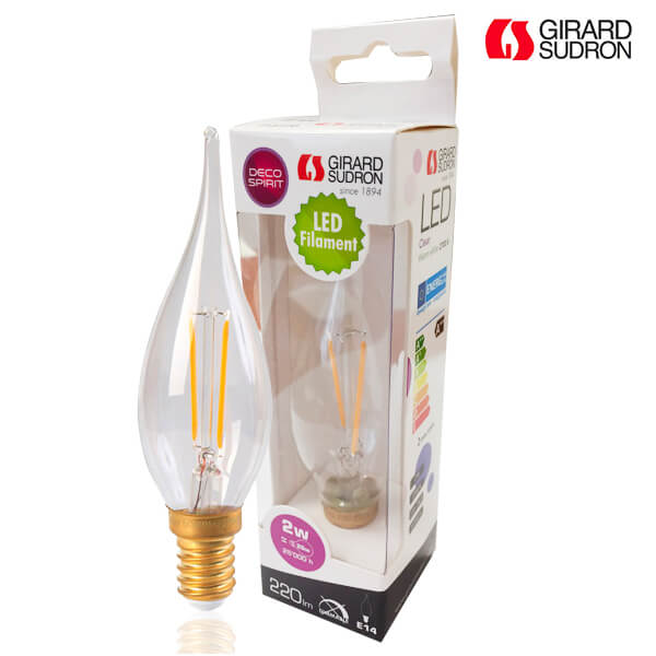 "LED filament bulb E14 2W Flame ""Big Century"" Clear Girard Sudron"