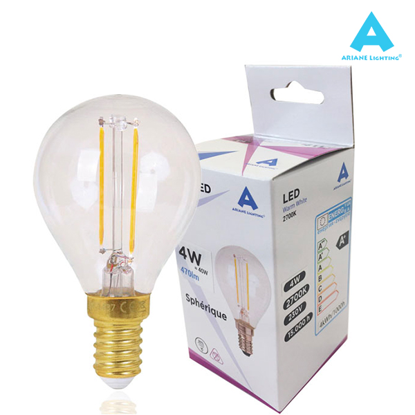 LED filament bulb E14 4W 470lm Spherical Light Ariane