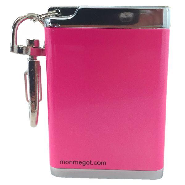 Cendrier de poche rectangulaire aluminium rose laqué avec mousqueton